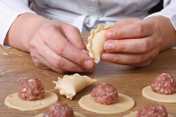 The process of handmade ukrainian dumplings