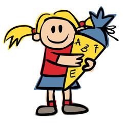 Kleines Mädchen mit Schultüte – Vektor/freigestellt