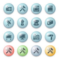 Home appliances icons on color buttons.