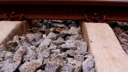 Lots of stones on the railroad