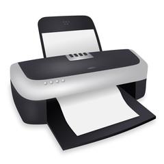 Laserdrucker mit unbedrucktem Papier – Vektor/freigestellt