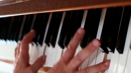 Piano - hands  playing the instrument