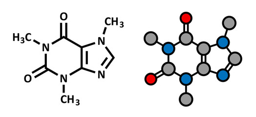 Caffeine stimulant molecule. Present in coffee, tea, ...