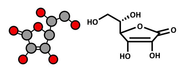 Vitamin C (ascorbic acid, ascorbate) molecule.