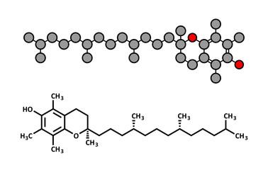 Vitamin E (alpha tocopherol) molecule.