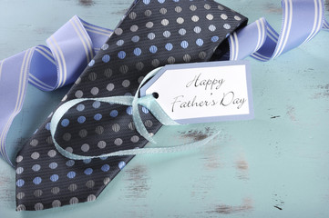 Happy Fathers Day blue tie with gift tag
