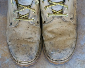 Old work boots, close-up