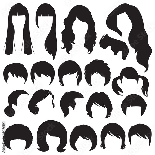hair silhouettes, woman and man hairstyle - 64196604