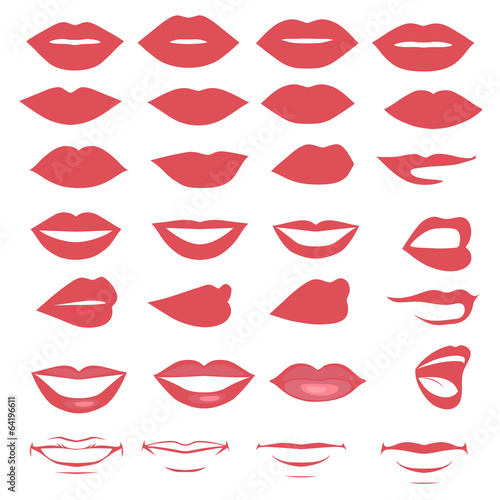 man and woman vector lips and mouth,  silhouette and glossy, - 64196611