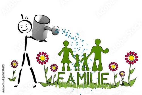canvas print picture stick man watering a Familie