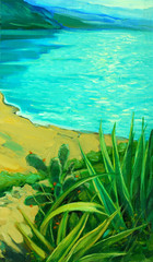 sea landscape with a beach, painting,  illustration