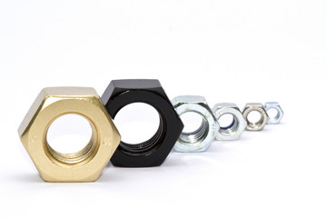 Assorted nuts, Black,Gold,Silver,Brass