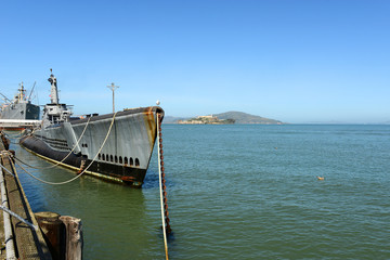 USS Pampanito submarine and Alcatraz Island, San Francisco