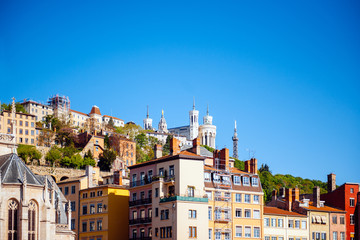 Notre-Dame de Fourviere in Lyon skyline  - UNESCO heritage