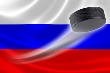 Hockey Puck Streaks Across Russia's Flag