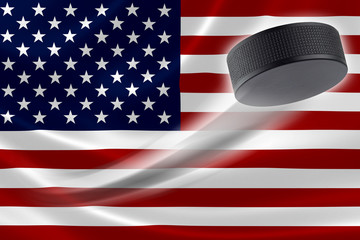 Hockey Puck Streaks Across USA's Flag