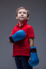 Image of cute young boxer posing in studio