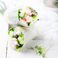Fresh spring rolls on a white background