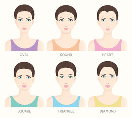 Set of woman face shapes