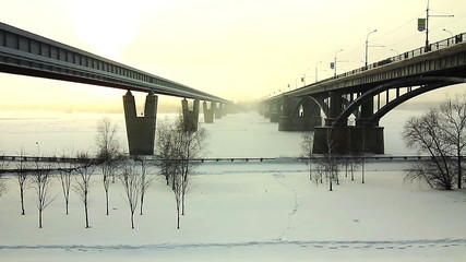 Two bridges over the river Ob, Novosibirsk, Russia
