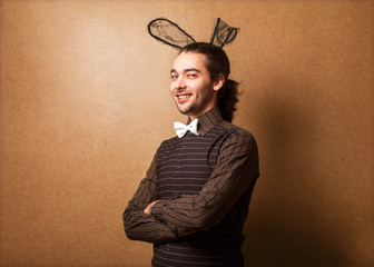 Fashion guy in bunny ears