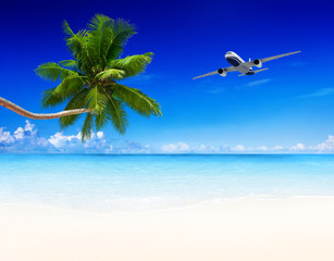 airplane and beach with blue sky