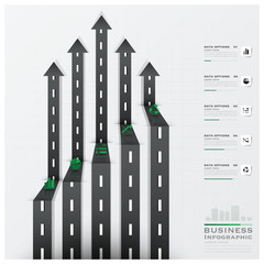 Road And Street Traffic Sign Arrow Shape Business Infographic