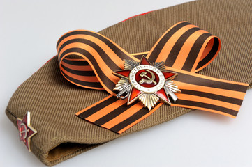 Military cap, Saint George ribbon, order of Great Patriotic war