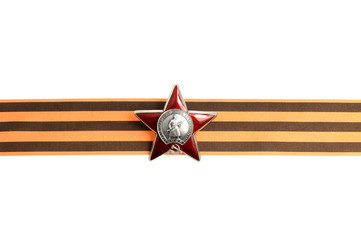 Order of the Red star on Saint George ribbon as horizontal borde