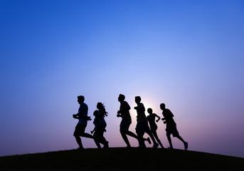 Running at Blue Sunset