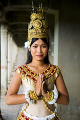 Indigenous Cambodian Female Dancer Greeting