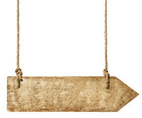 Wooden Arrown Hanging from Ropes