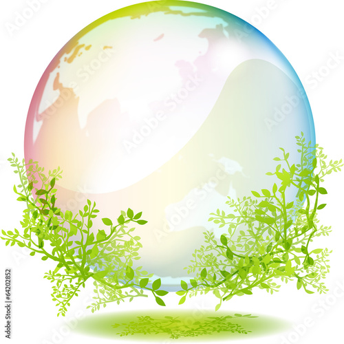 緑と虹色の地球