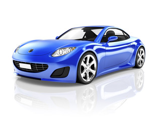 3D Luxury Blue Sports Car
