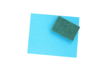 Blue sponge and cloth for cleaning.