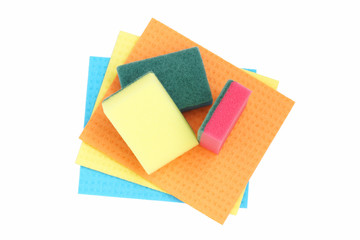Sponges and cloths for cleaning.