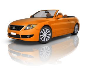 3D Orange Elegant Convertible Car