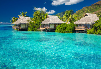 Overwater villas in lagoon of Moorea Island