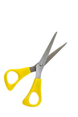 Yellow scissors isolated on a white background