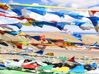 Prayer flags at Numso lake Tibet