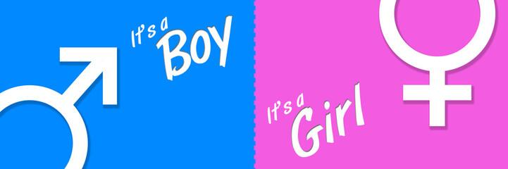 Boy Girl Blue Pink Banner