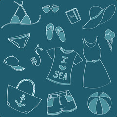 Summer vacation set - Vector