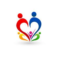 Family heart shape connections vector logo
