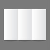 White stationery: blank trifold paper brochure on gray backgroun poster