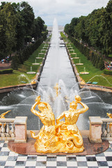 Grand Cascade fountain in Peterhof St. Petersburg Russia