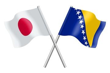 Flags: Japan and Bosnia-Herzegovina