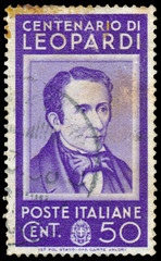 Stamp shows Count Giacomo Leopardi