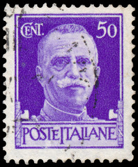 Stamp shows portrait of King Victor Emmanuel III