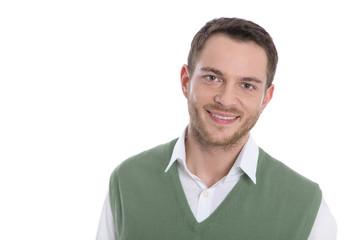 Gesicht: lachender junger Mann isoliert