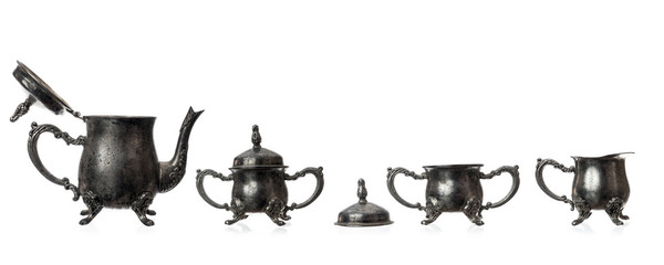 Silver Tea Set isolated on white Background